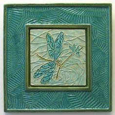 """Dragonfly Tile set into Fern Leaf Ceramic Frame 9 3/4"""" X 9 3/4"""""""