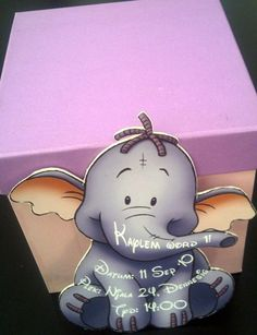 Pink & Purple Heffalump Party Favour Box & Heffalump Invitation