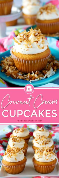 These coconut cupcakes are tender and packed with delicious coconut flavor coming from the cream of coconut, coconut extract, and toasted coconut. The frosting is a delicious and not-too-sweet Coconut Swiss Meringue Buttercream.