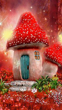 Fairytale Landscape Illustration Fairies New Ideas Mushroom House, Mushroom Art, Background For Photography, Photography Backdrops, Fantasy Kunst, Fantasy Art, Vinyl Backdrops, 5d Diamond Painting, Backdrops For Parties