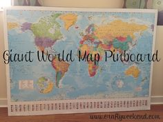 Use as guideline -- get board from Lowe's and large piece of cork board instead. world map pin board, cork board, instructions World Map Pin Board, World Map With Pins, Travel Map Pins, Travel Maps, Diy Cork Board, Cork Boards, Pin Boards, World Map Bedroom, Giant World Map