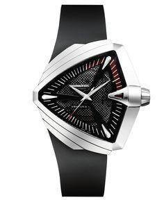 Hamilton Watch, Men's Swiss Automatic Ventura Xxl Black Rubber Strap 27mm H24655331