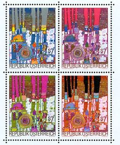 Love these color combinations. Austrian postage stamps by Friedensreich Hundertwasser.