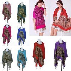 Women Tassel Long Cotton Printed Jacquard Warm Scarves Shawls Wrap #eozy