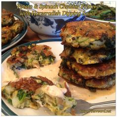 """The """"V"""" Word   Vegan Potato and Spinach Cheddar Fritters with Horseradish Dipping Sauce   http://thevword.net"""