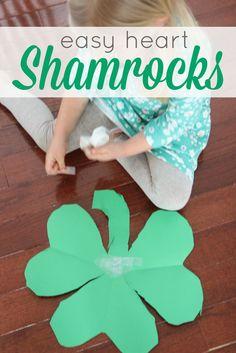 Toddler Approved!: Easy Preschool Cutting Craft: Heart Shamrocks