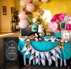 Party table from Glamorous Unicorn Birthday Party at Kara's Party Ideas. See the whole party at karaspartyideas.com!