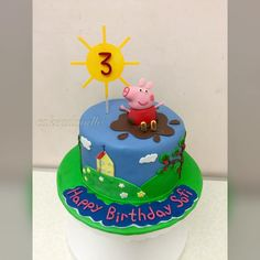 Keep cool and jump in muddy puddles! Peppa Pig cake for a friend's daughter.