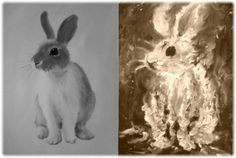 rabbit and rabbit, Oil on canvas, finger