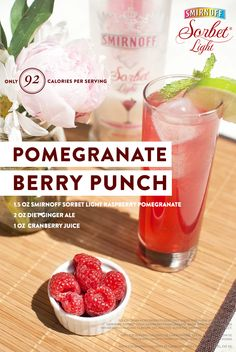 This looks like just the thing for feeling refreshed on hot days in the South! Try a glass of Pomegranate Berry Punch, 1.5 oz Smirnoff Sorbet Light™ Raspberry Pomegranate*, 2 oz diet ginger ale, and 1 oz cranberry juice. Build in a glass over ice, squeeze in lime and stir.  #SmirnoffContestEntry