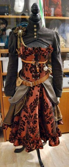 Steampunk dress red and black brocade  with blouse and over skirt. I love this whole outfit.