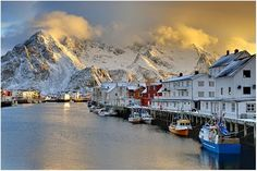 Icy port town