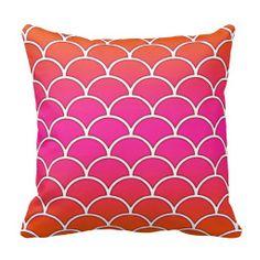 Pink and Orange Japanese Wave Pattern Pillow