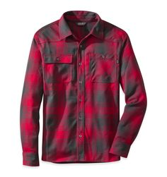 OUTDOOR RESEARCH* Men's Feedback Flannel Shirt Combines Technical Performance With Classic Flannel Work Shirt, Red BlacK