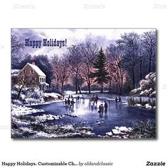 Happy Holidays. Business / Corporate Fine Art Customizable Christmas Flat Greeting Cards with a Winter Christmas Scene. Lithograph by Currier and Ives, circa 1890. Matching cards, postage stamps and other products available in the Christmas & New Year / Fine Art Category of the oldandclassic store at zazzle.com