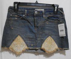 NEW Free People Blue Handkerchief Hem Distressed Jean Mini Skirt 0  XS   #FreePeople #Mini