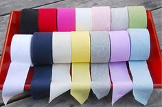 1 Roll of Cotton Jersey Knit Bias Tape  ● Material: 100% Cotton ● Yarn count (Cotton count): 30 ● Width: about 1.49 (3.8 cm) ● Length: about 7 yards (248 = 630 cm) ● Colors to choose from: Green, Light Gray, Light Pink, Ivory, Dark Pink, Red, Black, Sky Blue, Violet, Gray, Yellow, Off
