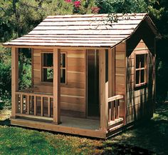 "Play House Woodworking Plans  This rustic Playhouse has one room and a porch. Perfect for those clubhouse meetings. (Dimensions: 4'Long X 6' Wide X 5' 8"" Tall inside)"