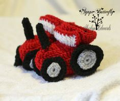Crochet Tractor Baby Booties  Size 03 Months  by AgapeButterfly, $20.00