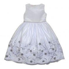 Big Girls White Glitter Sequin Embroidered Junior Bridesmaid Dress 7-12