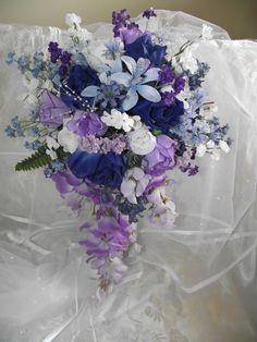 Cascade Dark Blue and Purple Wedding Bouquet with Dark Blue Roses, White and Light Purple Roses