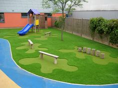 toddler play areas | Fun Play Area for Kids : Evergreen Outdoor Kids Play Area Wooden Bench ...