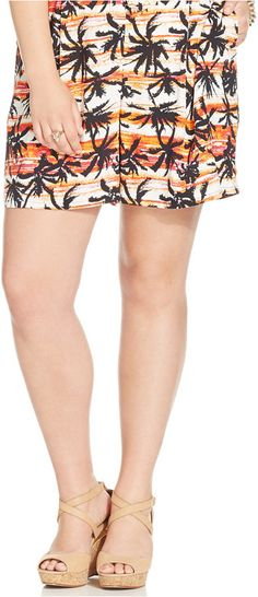 Harper and Liv Plus Size Tropical-Print Pleated Soft Shorts Plus Size Shorts, Soft Shorts, Curves, Mini Skirts, Tropical, How To Wear, Shopping, Products