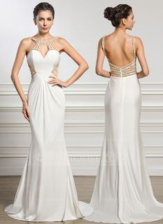 Trumpet/Mermaid Scoop Neck Sweep Train Jersey Evening Dress With Ruffle Lace Beading (017056511)