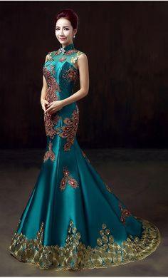 Lady bleu royal phoenix broderie backless bandage queue de poisson personnalisé banquet à long cheongsam qipao robes 2016 femmes élégantes dans cheongsams de Nouveauté et une utilisation particulière sur AliExpress.com   Alibaba Group