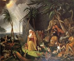 "Noah Leaves the Ark. - Genesis 8:18, ""And Noah went forth, and his sons, and his wife, and his sons' wives with him:"""