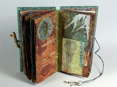 The Little Things by Sharon McCartney  Mixed Media Coptic Bound Book with Vintage Pages #mixed_media #artists_book