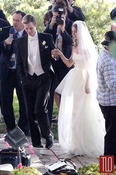 "Emily VanCamp and Gabriel Mann seen filming wedding scenes for ""Revenge"" in Los Angeles."
