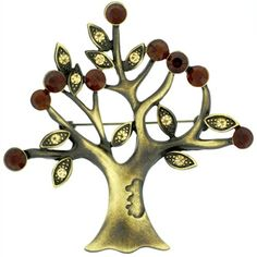 Brooches Store Antique Gold and Topaz Crystal Tree of Life Christmas Brooch >>> Click on the image for additional details. (This is an affiliate link) #BroochesandPins