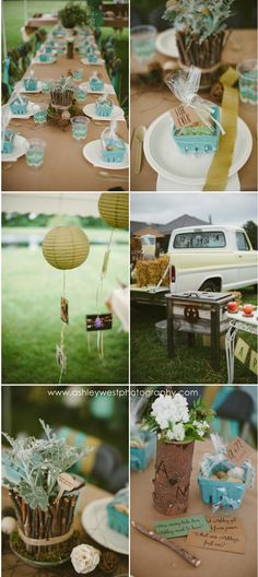 Outdoor Backyard Bridal Shower. #vintage #rustic #diy #bridalshower #oldtruck #vintagetruck #dustymiller #partyfavors #gold #teal #haybale