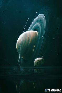 """Artwork of the fictional gas giant """"Mercurius"""" and its moons. Tobias, Planets And Moons, Wonder Art, Gas Giant, Planets Wallpaper, Galaxy Art, Weekend Fun, Concept Art, Digital Art"""