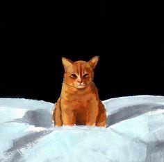 cat art . Sinister Tabby . 13 x 19 large print . of orange tabby cat. $45.00, via Etsy.