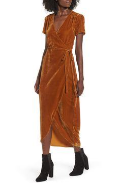 velour yellow wrap dress on sale in the nordstrom anniversary sale