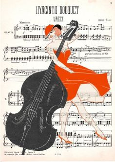 DOUBLE bass GIRL, original ARTWORK, mixed media