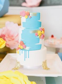 Blue painted wedding cake