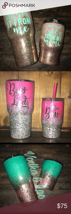 Mommy & Me Tumbler Set Listing includes a 30oz glitter coated Tumbler & a 10oz glitter coated Tumbler both with decal/name/monogram you want. You can also pick designs in pictures or if you want a different color/colors I can do pretty much any color. Other
