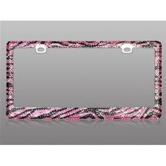 <3 *What?!*   Car Automotive License Plate Frame Chrome Coating Metal Painting Finish with Fully Encrusted Multiple Black and Pink Zebra Animal Skin Design Diamonds Crystals Rhinestones Bling