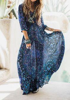 Blue Floral Print V-neck 3/4 Sleeve Fashion Maxi Dress
