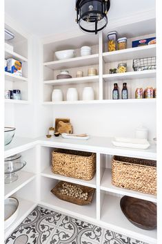 Altadena Modern Farmhouse New Construction Open Cabinets, Kitchen Cabinetry, Kitchen Pantry, White Cabinets, Country Kitchen Farmhouse, Modern Farmhouse, Pantry Design, Kitchen Design, Bathroom Storage Ladder