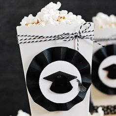 Graduation Themed DIY Party Popcorn Boxes