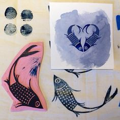 In the studio this weekend: From watercolor doodle, to cut stamp, to fabric test block print.