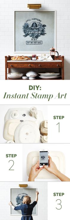 H&H design editor Stacey Smithers enlarged a photo of a vintage porcelain stamp for instant DIY art. Get the steps on our website now! | Photographer: Valerie Wilcox