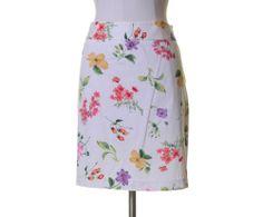 Rafaella White Pink Purple Yellow Green Floral Cotton Stretch Straight Skirt 12 #Rafaella #Straight
