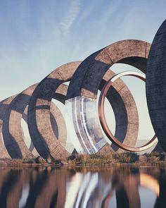 ideas for landscape architecture rendering posts Futuristic Art, Futuristic Architecture, Landscape Architecture, Environment Concept Art, Science Fiction Art, Fantasy Illustration, Fantasy Landscape, Cool Landscapes, Retro Futurism