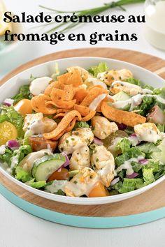 Vous capotez sur le fromage en grains? Vous serez ravi de le retrouver à son meilleur dans cette salade crémeuse débordante de saveurs! Pasta Salad, Cobb Salad, Saveur, Grains, Ethnic Recipes, Food, Salads, Day Care, Greedy People