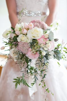 Hottest 7 Spring Wedding Flowers--pink roses, baby breath and white ranunculuses bridal bouquets for outdoor wedding ceremony, wedding reception ideas, wedding flowers. flowers pink Hottest 7 Spring Wedding Flowers to Rock Your Big Day Cascading Wedding Bouquets, Bridal Flowers, Floral Wedding, Trendy Wedding, Flower Bouquets, Perfect Wedding, Bridesmaid Bouquets, Tulip Bouquet Wedding, Wedding Bridesmaids